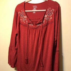 Rose boho top with bell sleeves